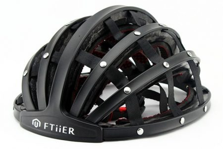 Ftiier folding helmet in black open front side view