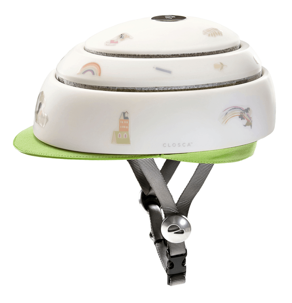 Closca Fuga in white with leaf green visor and stickers side view