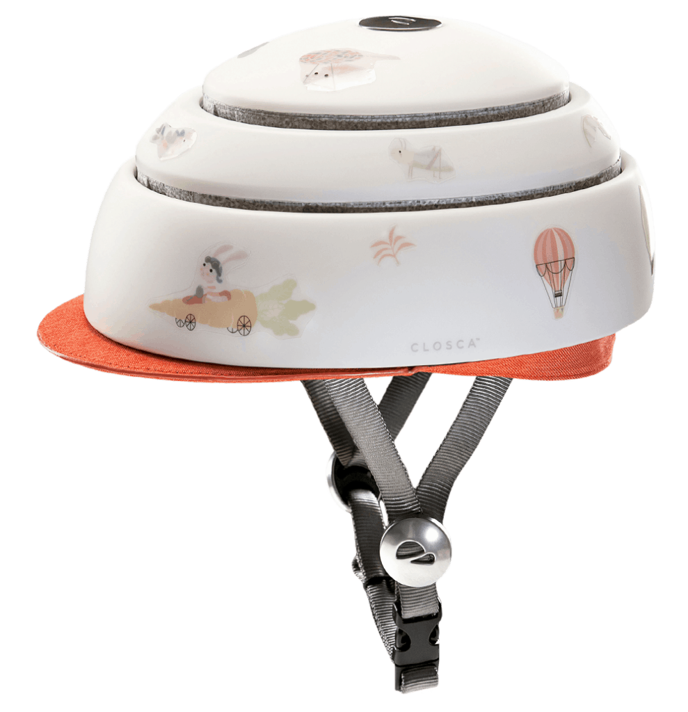 Closca Fuga in white with carrot orange visor and stickers side view