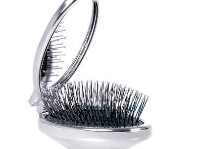 WetBrush Pop Fold in silver with mirror half open
