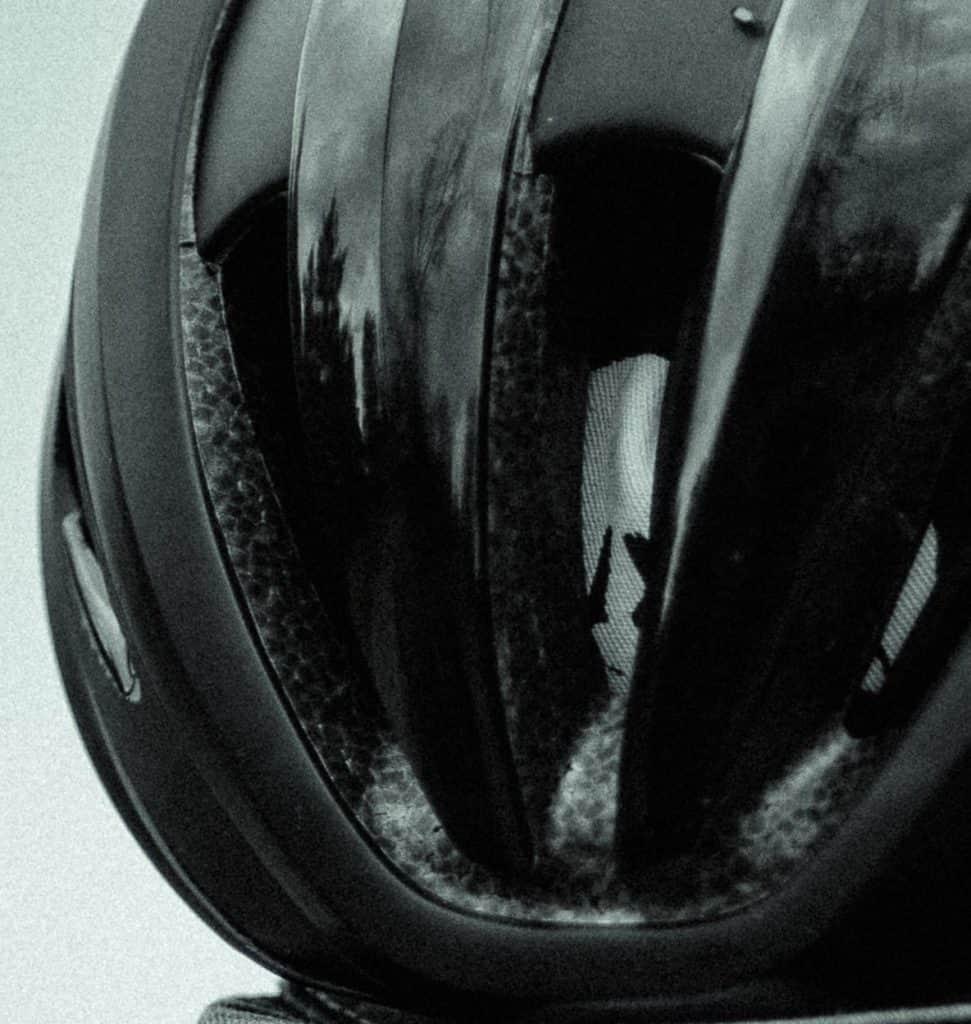 Black helmet closeup on shell