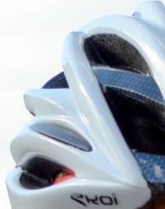 White helmet closeup on shell