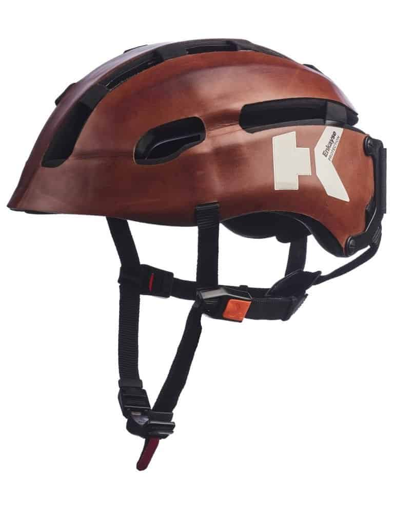 Hedkayse One in tan leather front angle view
