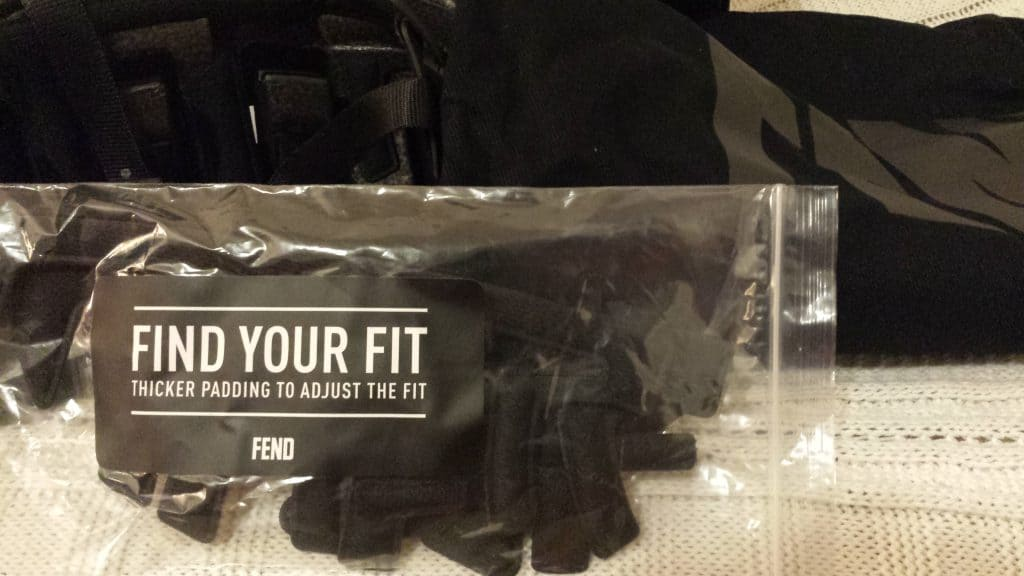 Fend package with extra padding in bag written Find Your Fit