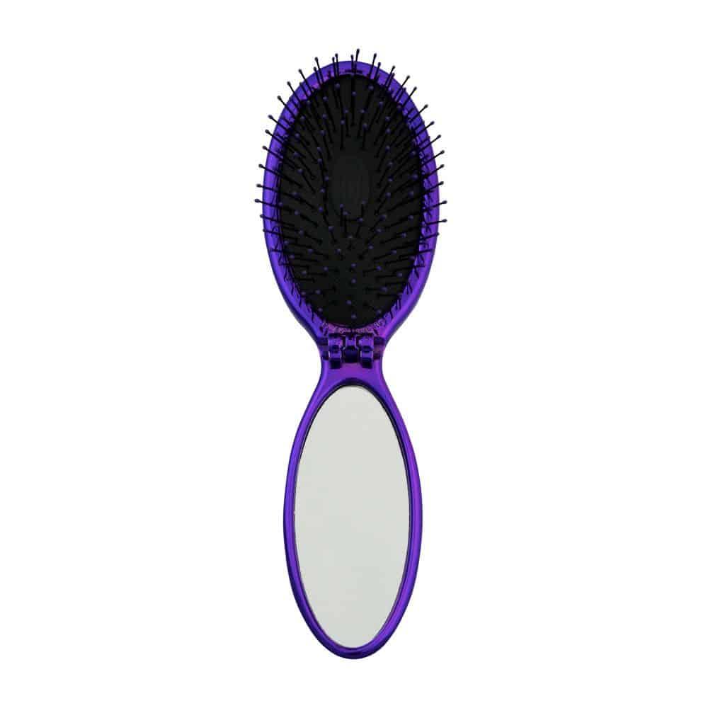 Wet Brush in purple open showing mirror in handle