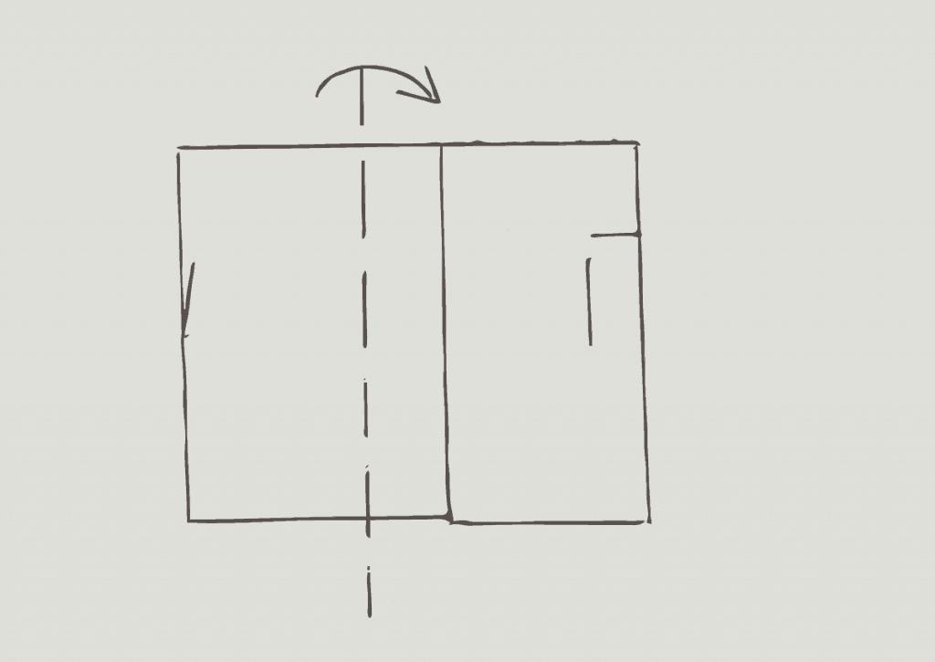 KonMari method of folding heavy shorts, step 2