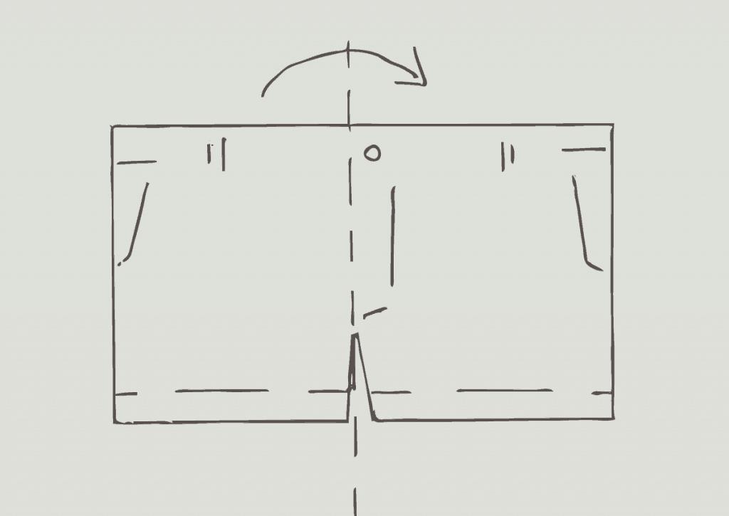 KonMari method of folding light shorts, step 1